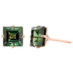 18 Karat Rose Gold 6.84 Carat Green Tourmaline Studs