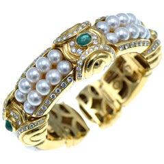 Italian Gold, Emerald, Diamond and Pearl Cuff Bracelet