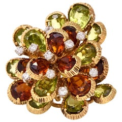 Chic Flower Diamond Citrine Peridot Gold Cocktail Ring