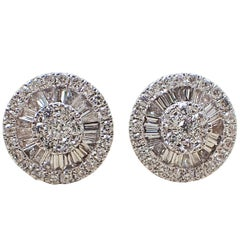 18 Karat White Gold Fan Style Earrings - 0.77 Carat of Baguette & Round Diamond