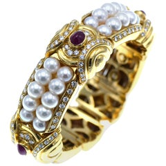 Italian Gold, Ruby, Diamond and Pearl Cuff Bracelet