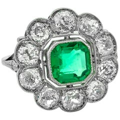 Edwardian .75 Carat Emerald and 1.00 Carat TW Diamond Antique Engagement Ring