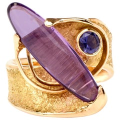 Contemporary Surrealistic Amethyst Iolite Gold Ring