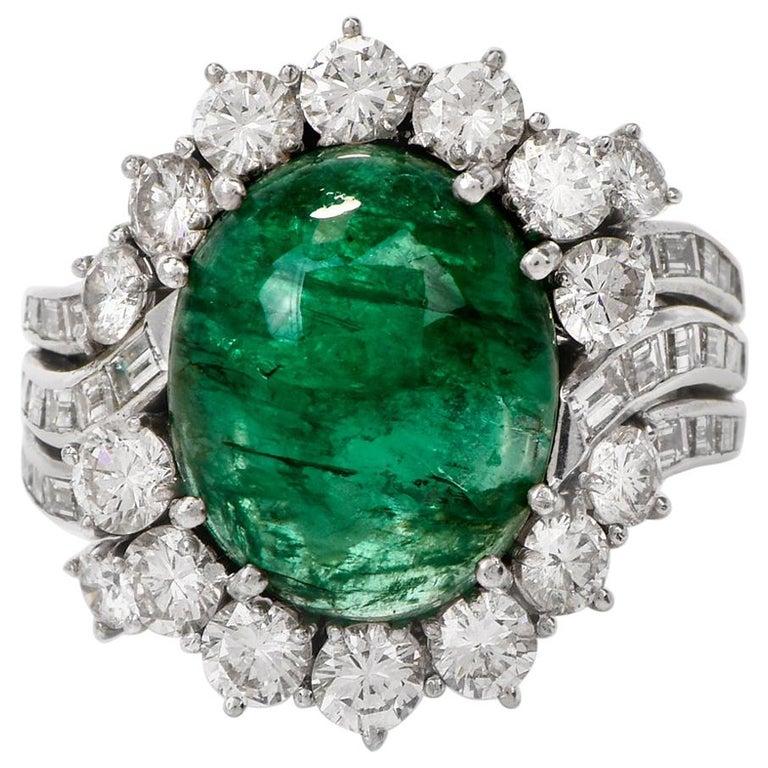 Cabochon Emerald Diamond Ballerina Cocktail Ring