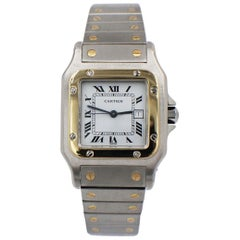 Cartier Santos Automatic AC23.80 18 Karat Gold and Stainless Steel White Dial