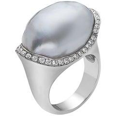 Natural Organic Shaped White South Sea Pearl Diamond Ring