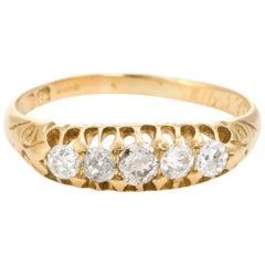 Graduated 5 Old Mine Cut Diamond Ring Antique Edwardian circa 1907 18 Karat Gold