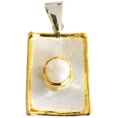 Yianni Creations Pearl Fine Silver and 24 Karat Gold Rectangular Pendant