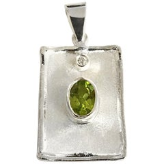 Yianni Creations 2.00 Carat Peridot and Diamond Fine Silver Palladium Pendant