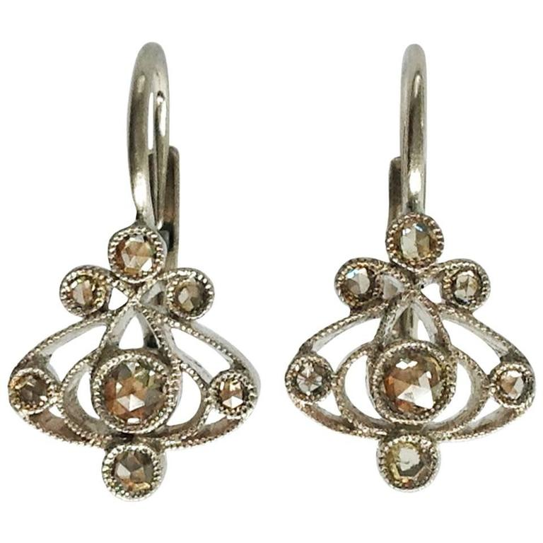 Dalben Light Brown Diamond Gold Pendant Earrings