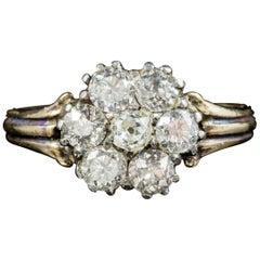 Antique Georgian Diamond Cluster Ring 18 Carat Gold, circa 1800