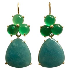 Solid Yellow Gold Dangle Drop Green Agate and Blue Quartz Earrings