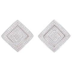 Versace White Gold Diamond Square Earrings 1.10 Carat
