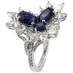 4.08 Carat Saphhire, 2.86 Carat White Diamond 18 Karat White Gold Ring