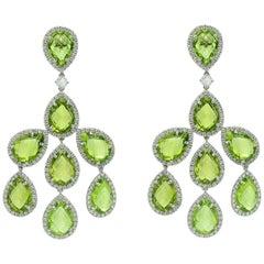 Chandelier Earrings Margherita Burgener Diamond Peridot 18 Karat Gold, Italy