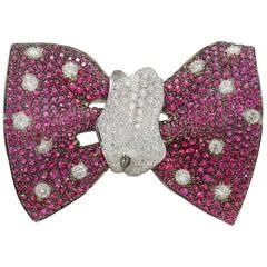 Tuxedo Papillon Margherita Burgener 18 Kt Gold Diamond Ruby  Brooch Choker Italy