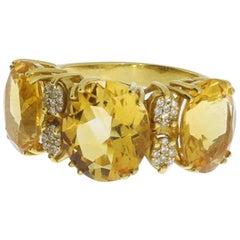 1960s Citrine Diamond Gold Ring
