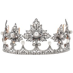 Antique Victorian Tiara Natural Pearl & Diamond Provenance & by Kendall Jenner