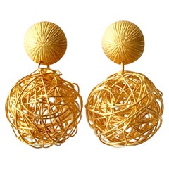Solid 18 Karat Yellow Gold Drop Earrings in a Satin Finish