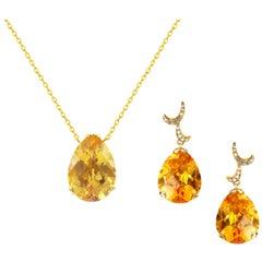 Fei Liu 18 Karat Yellow Gold Citrine Small Pear Drop Set
