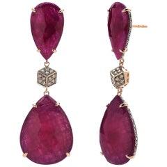 39.24 Carat Ruby and 1.20 Carat Champagne Diamond Earrings in 18 Karat Rose Gold