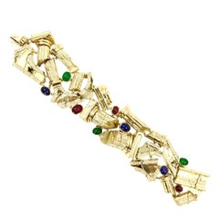 18 Karat Sapphire, Ruby, Emerald and Diamond Roman Column Bracelet
