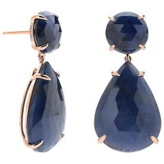 39. 57 Carat Blue Sapphire Earrings Set in 18 Karat Rose Gold