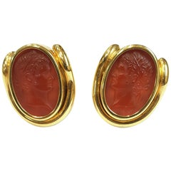 Italian Made 18 Karat Yellow and Carnelian Intaglio Earrings by Vaid Roma