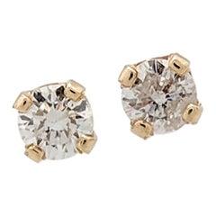 14 Karat Yellow Gold Round Brilliant Cut Diamond Stud Earrings I1/H .20 Carat