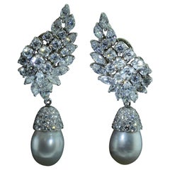Platinum and Diamond Dangling Pearl Drop Earrings, Day and Night Earrings