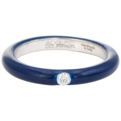 Adolfo Courrier Navy Blue Enamel Diamond Stacking Ring 5.5 18k Gold Fine Jewelry