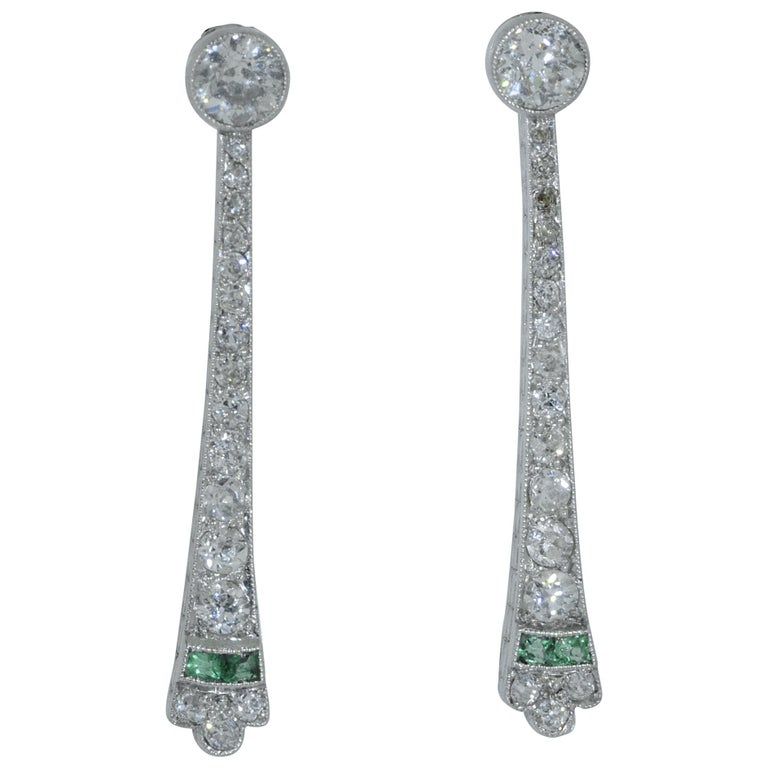 Platinum Art Deco Emerald and Diamond Drop Earrings