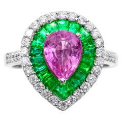 IGL Certified 1.60 Carat Pear Pink Sapphire Emerald Diamond 14K Cocktail Ring