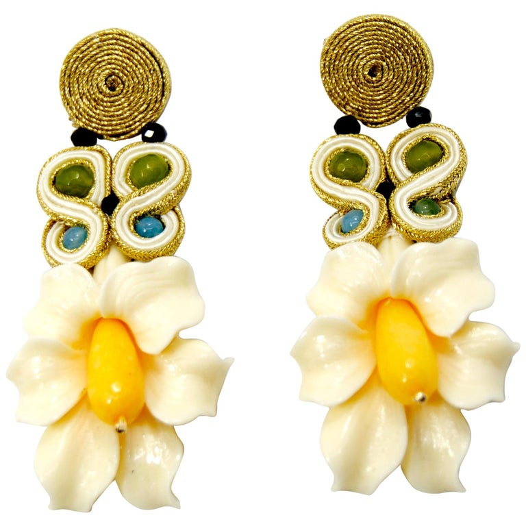 Pradera Kalas Collection Soutache Silver Earrings With Resins And Yellow Jade For