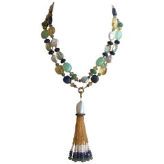 White Pearl and Multi-Color Stone Necklace and Tassel with 14 Karat Gold Clasp