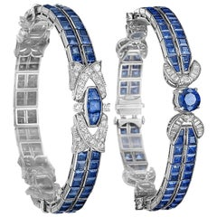 Pair of Oscar Heyman Art Deco Sapphire and Diamond Bracelets