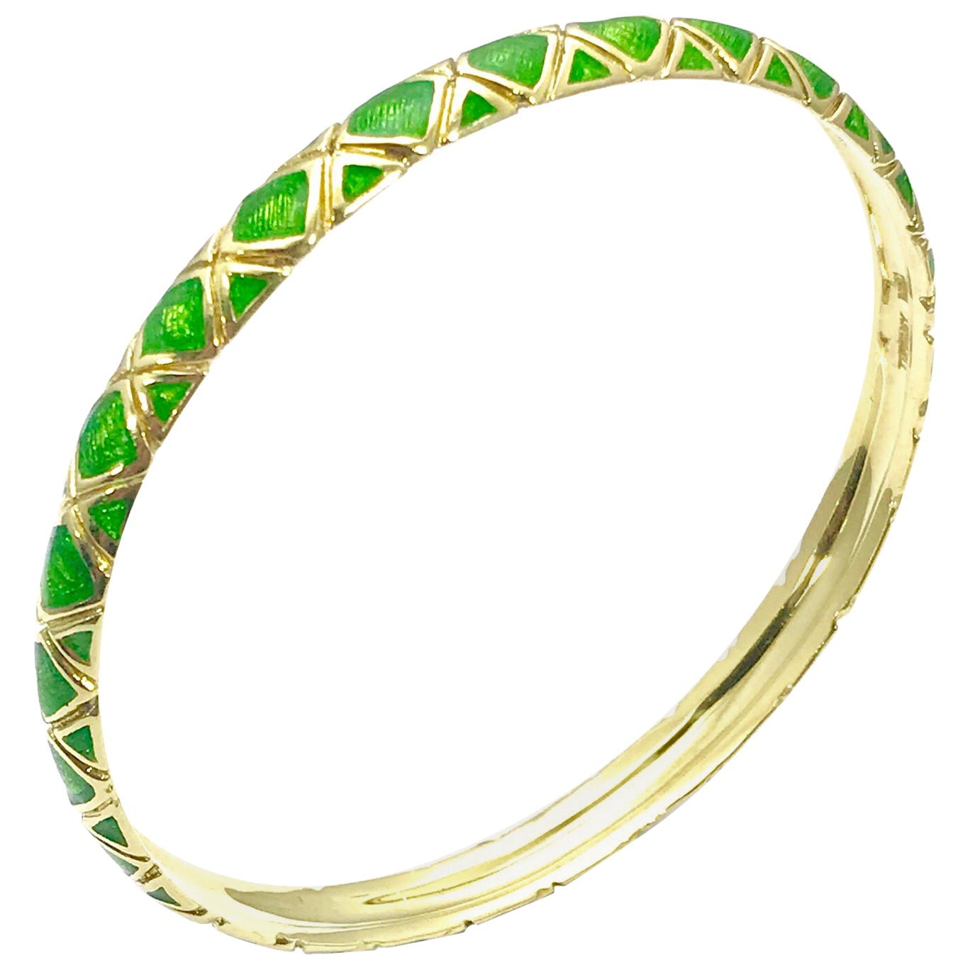 Tiffany & Co. 18 Karat Gold and Green Enamel Bangle Bracelet