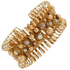 French, 1950s Gold, Platinum and Diamond Bracelet