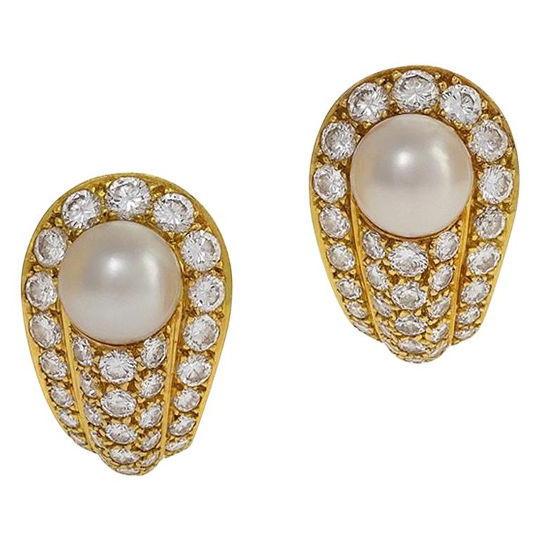 Cartier 1990s Gold Diamond And Pearl Earrings For