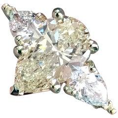 Pear Shape Yellow Diamond, 3-Stone Ring, 14 Karat Y, 2.70 Carat, Ben Dannie