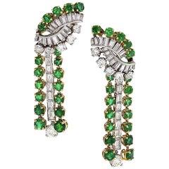 Boucheron Platinum, Gold, Diamond and Emerald Drop Earrings