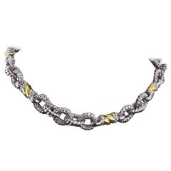 Judith Ripka Silver and Gold Twisted Link Chain Necklace with Diamond Clasp