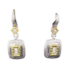 Judith Ripka Silver and Gold Pave Diamond Cushion Drop Berge Earrings