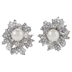 Platinum Diamond and Pearl Earrings by David Webb