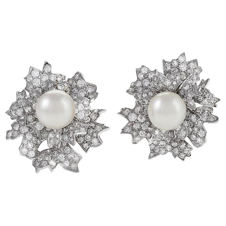 Platinum Diamond and Pearl Earrings by David Webb For Sale