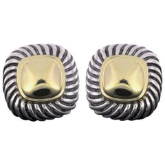 David Yurman Silver and Gold Albion Cable Stud Earrings with Gold Domes