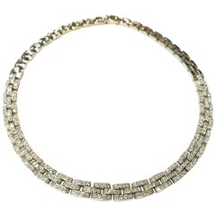 18 Karat White Gold and Pave Diamond Basket Weave Design Choker 7.20 Carat