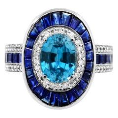 IGL Certified 1.25 Carat Oval Blue Zircon Blue Sapphire and Diamond 14K Ring