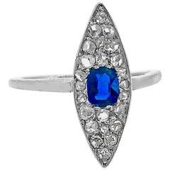 Edwardian .33 Carat Sapphire and Diamond Antique Platinum and 18 Karat