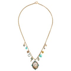 Turquoise and Seed Pearl Charm Necklace
